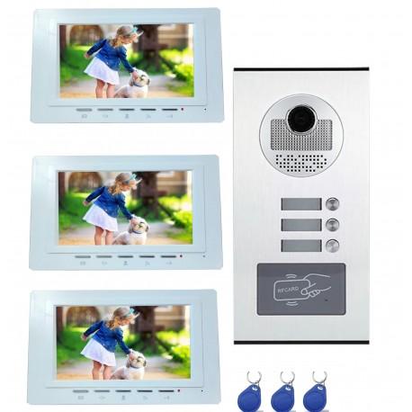 Visiophone couleur pour 3 logements ou 3 appartements