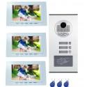 Visiophone couleur pour 3 logements ou 3 appartements avec lecteur de badge RFID intégré