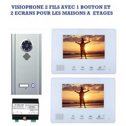 Visiophone 2 fils avec 2 écrans pour maison à étages